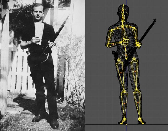 미국 다트머스해군사관학교 연구팀은 사진 속 리 하비 오스월드의 모습(왼쪽)을 분석하기 위해 생리학적으로 타당한 그의 3D 모델(오른쪽)을 개발했다. 연구팀은 이 3D 모델을 활용해 사진 속 모습은 균형을 잃은 것처럼 보이지만 실제 자세는 안정적이라고 분석했다. - Warren Commission, Hany Farid 제공